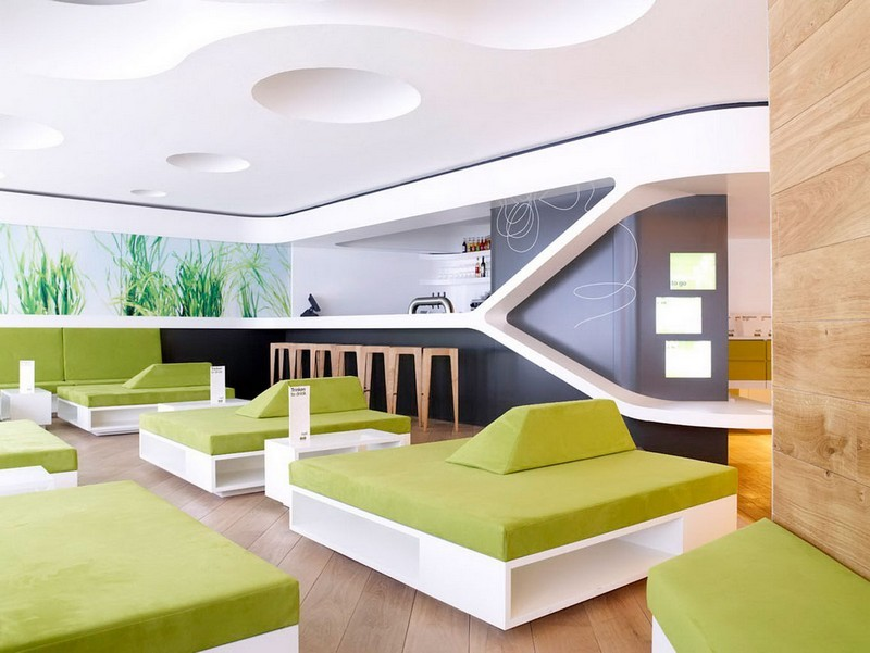 Elles neue Lieblingsfarbe: Chartreuse imaginative modern restaurant interior design