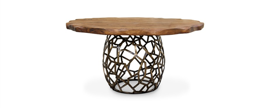 esstische inspirationen Top 7 Unglaubliche Esstische Inspirationen für Silvester apis round geometric wood brass dining table 1 1